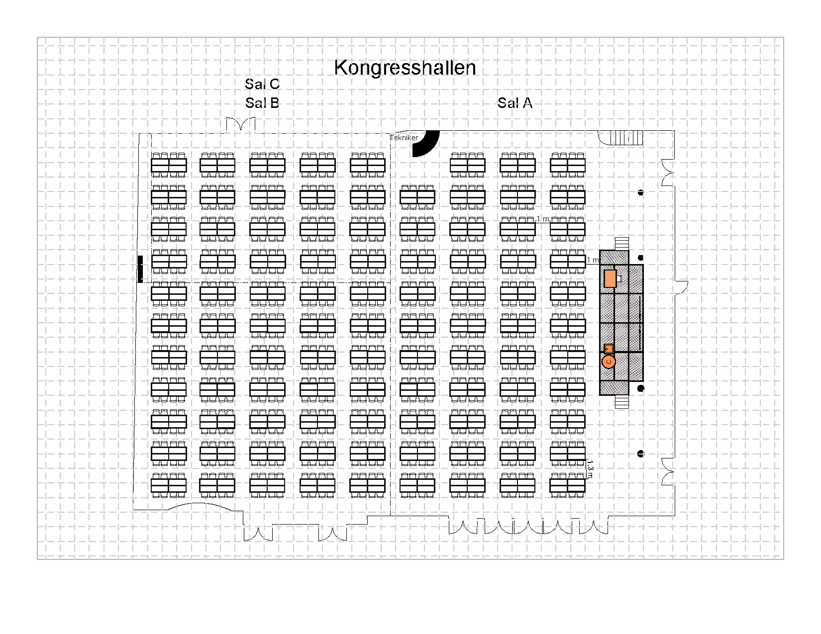 Gruppebord à 8, 784 plasser