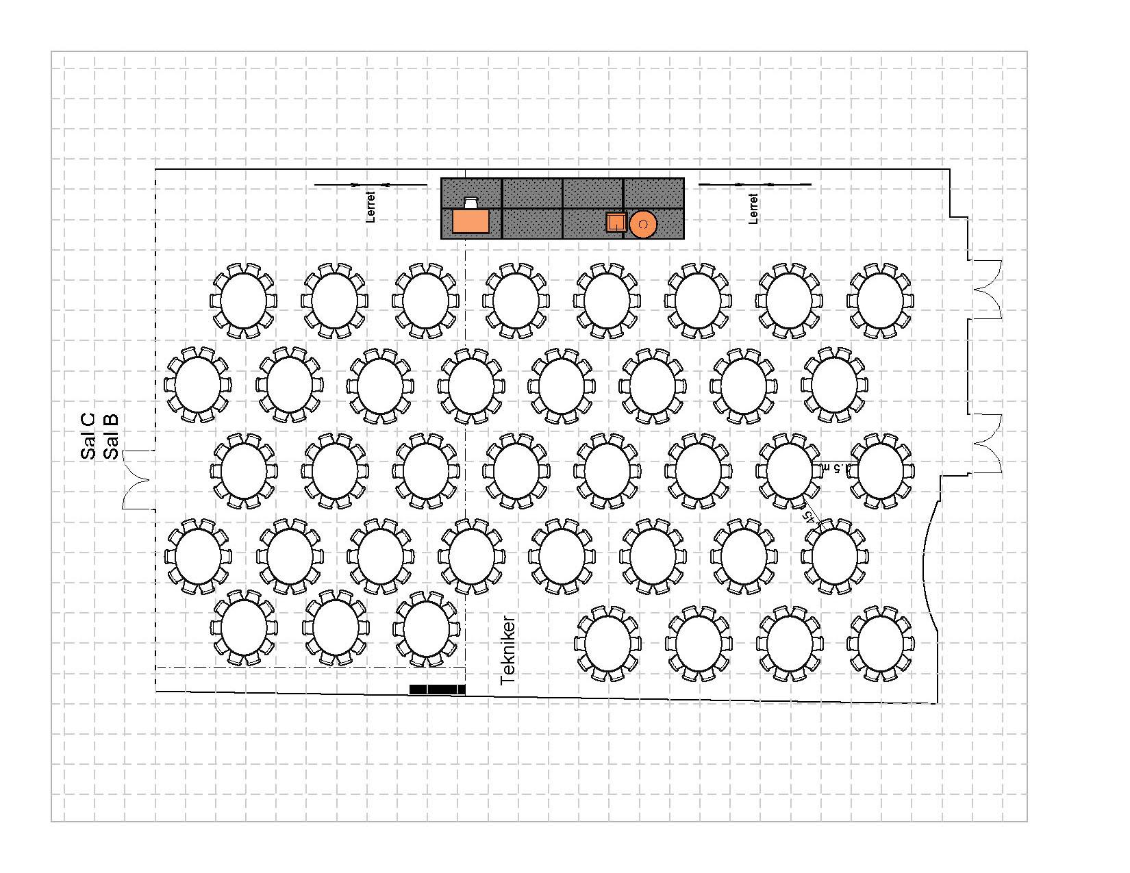 Bankett i runde bord med podie, 390 plasser