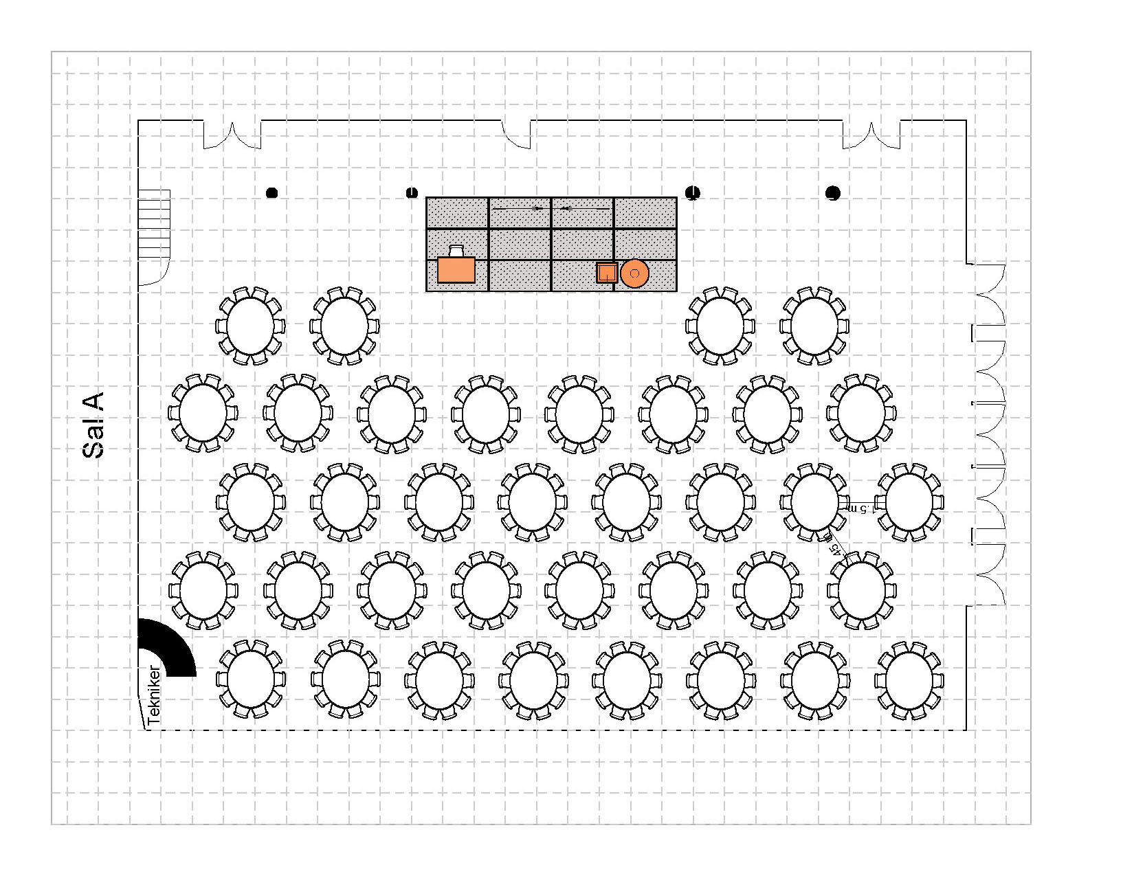 Bankett i rundebord med podie, 360 plasser