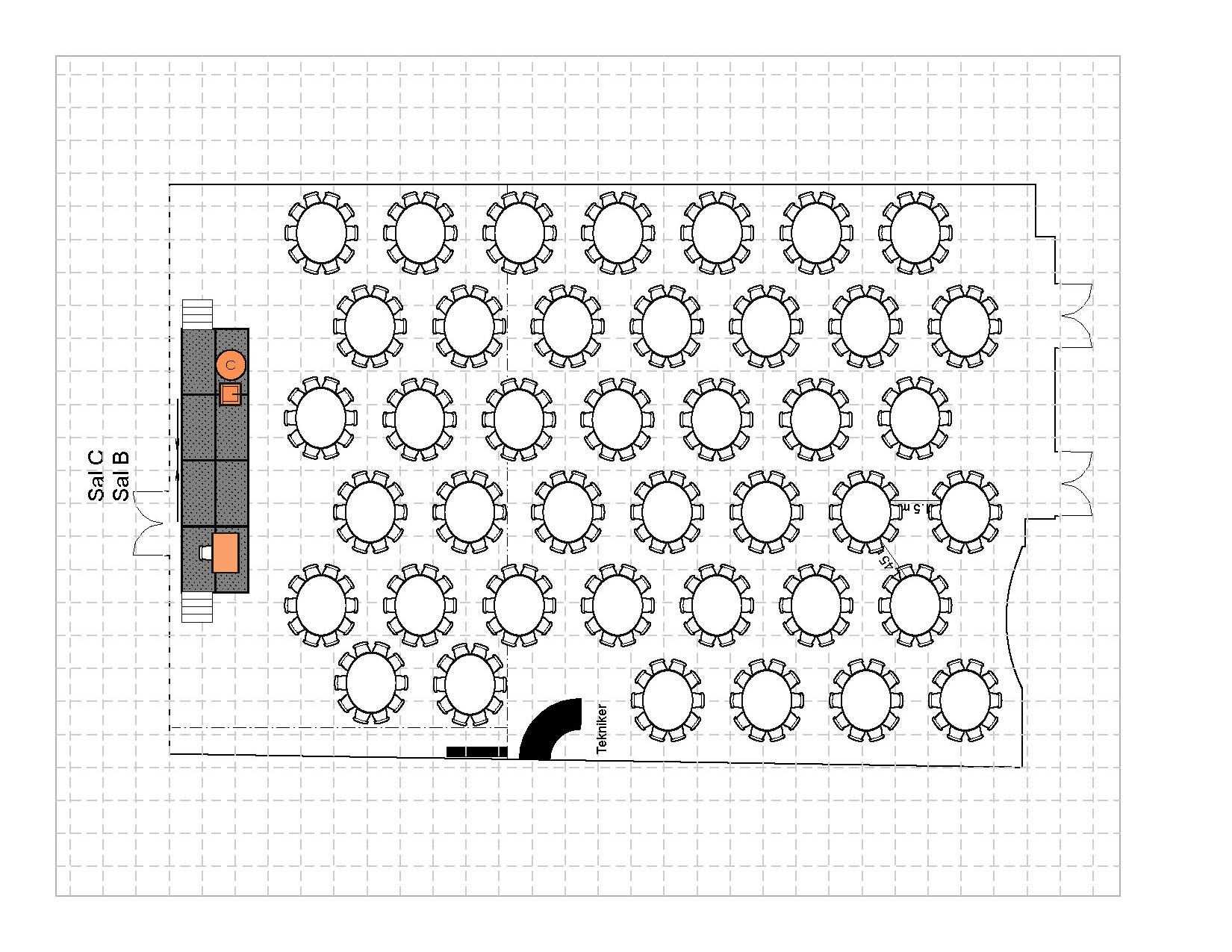 Bankett i rundebord med podiet, 410 plasser